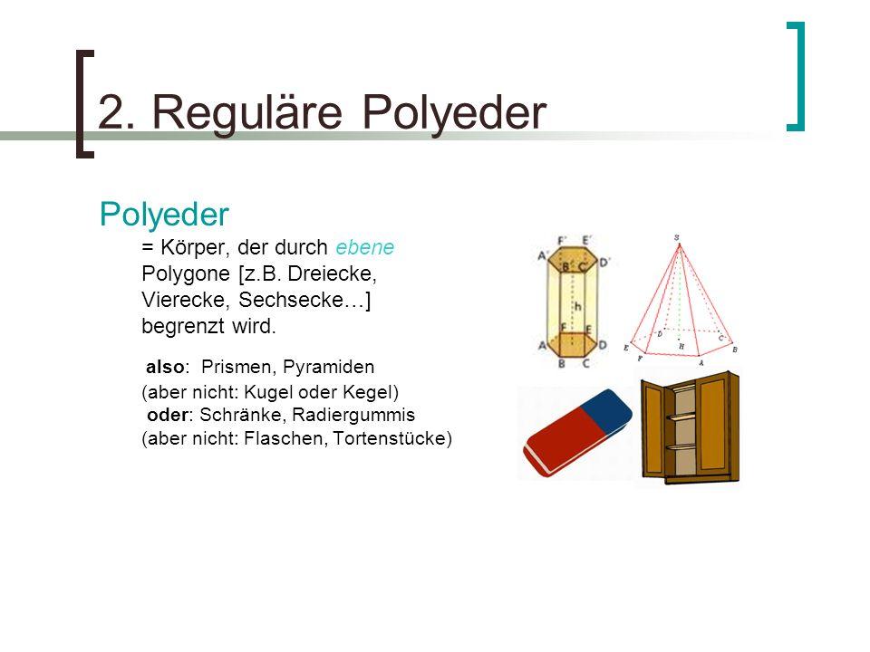 2. Reguläre Polyeder Polyeder = Körper, der durch ebene Polygone [z.B. Dreiecke, Vierecke, Sechsecke…] begrenzt wird.